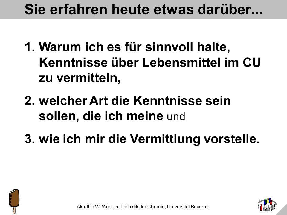 AkadDir W. Wagner, Didaktik der Chemie, Universität Bayreuth Süßes aus und für den Unterricht Oder: Warum schmecken Gummibärchen rot? Einführung