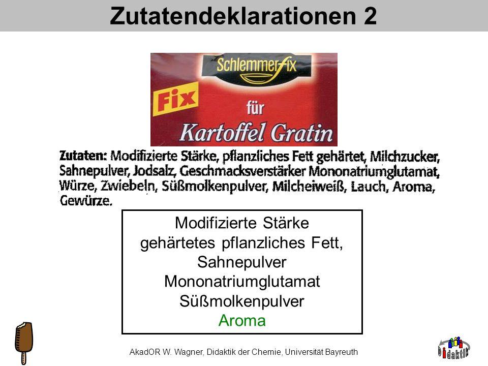 AkadDir W. Wagner, Didaktik der Chemie, Universität Bayreuth Zutatendeklarationen 1 Nitritpökelsalz Modifizierte Stärke Johannisbrotkernmehl Guar Xant