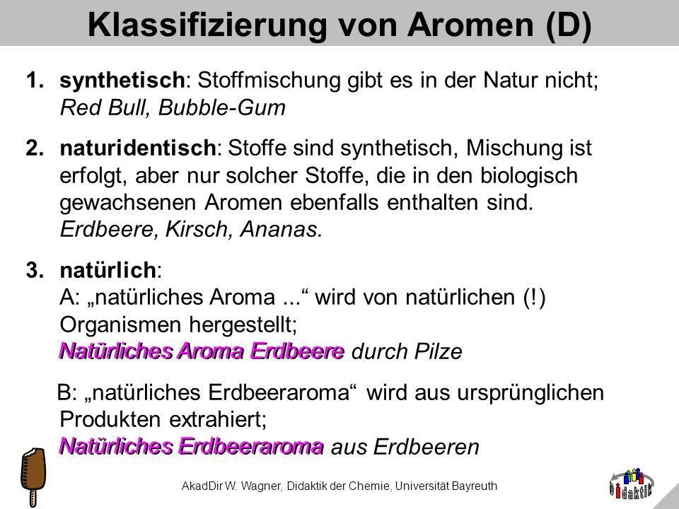 AkadDir W. Wagner, Didaktik der Chemie, Universität Bayreuth Woher stammt natürliches Aroma Erdbeere? A: aus SchimmelB: aus Erdbeeren C: aus natürlich