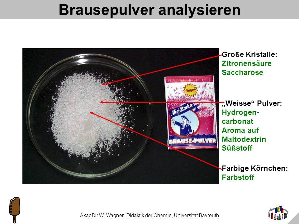 AkadDir W. Wagner, Didaktik der Chemie, Universität Bayreuth Klassifizierung von Aromen (D) 1.synthetisch: Stoffmischung gibt es in der Natur nicht; R
