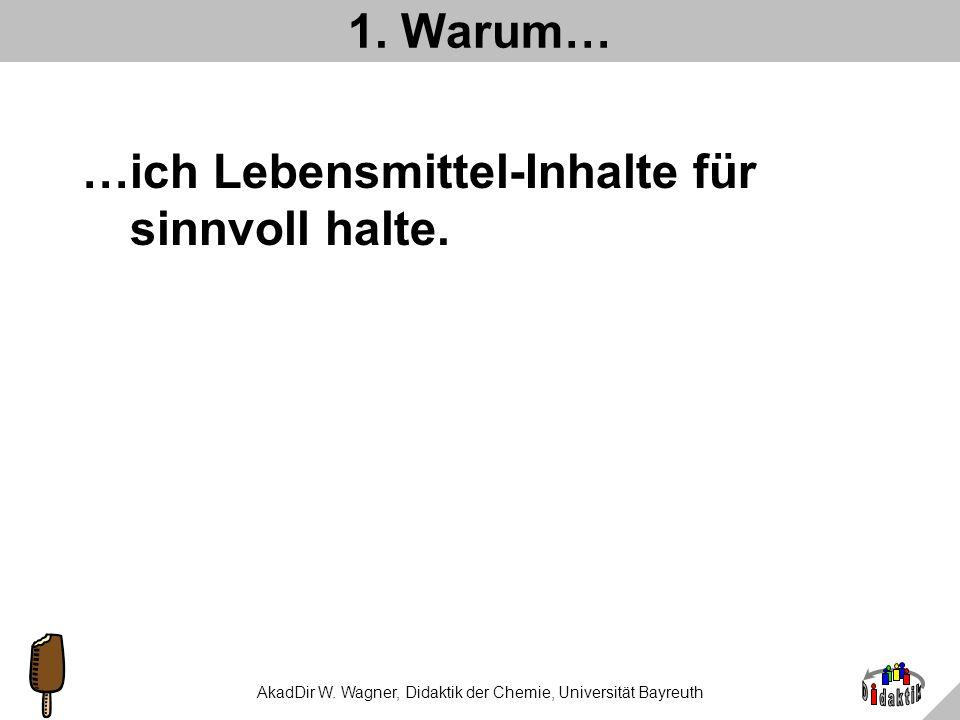 AkadDir W. Wagner, Didaktik der Chemie, Universität Bayreuth Sie erfahren heute etwas darüber... 1.Warum ich es für sinnvoll halte, Kenntnisse über Le