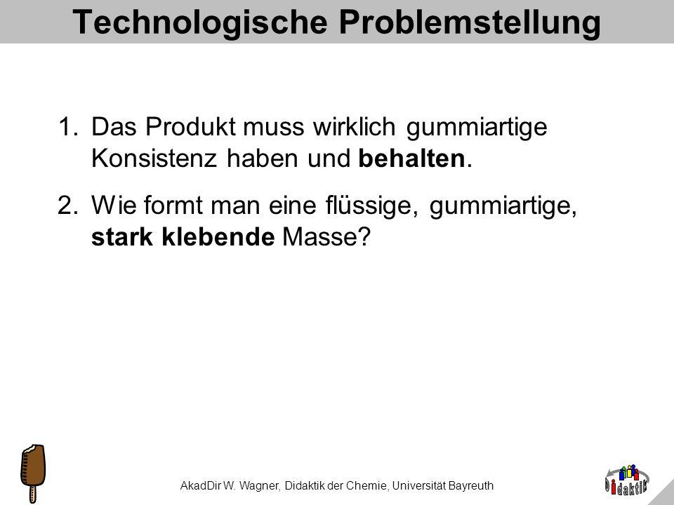 AkadDir W. Wagner, Didaktik der Chemie, Universität Bayreuth Fruchtgummiproduktion nach Altersstufen Schr.Aktivität9a13a17a 1.Zutaten abwiegen.-++ 2.I
