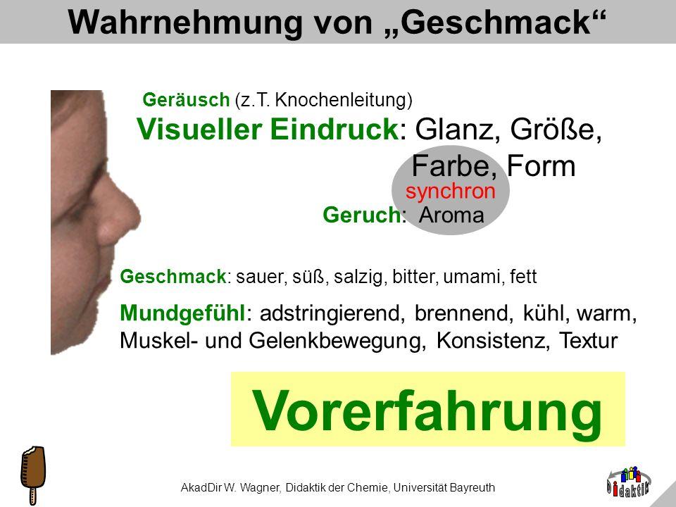 AkadDir W. Wagner, Didaktik der Chemie, Universität Bayreuth Die 100.000-Euro-Frage. Wonach schmecken die grünen Haribo-Gummibärchen? A: nach Kiwi C: