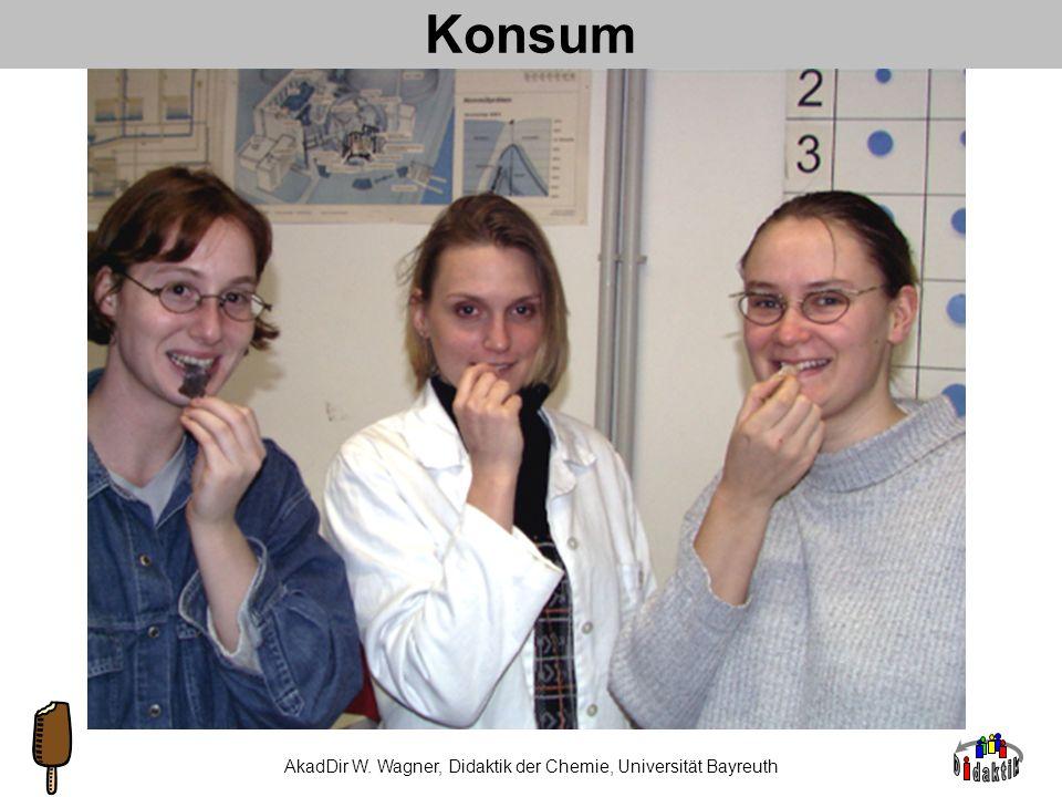 AkadDir W. Wagner, Didaktik der Chemie, Universität Bayreuth synchron Wahrnehmung von Geschmack Visueller Eindruck: Glanz, Größe, Farbe, Form Geruch: