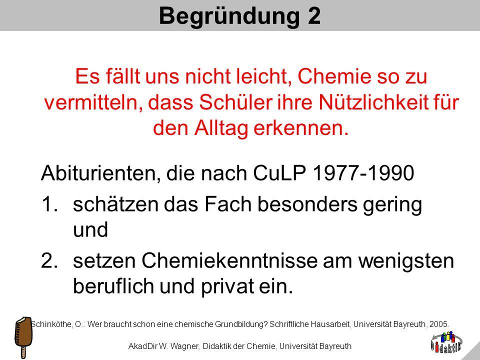 AkadDir W. Wagner, Didaktik der Chemie, Universität Bayreuth Begründung 1 Weißer Zucker ist ungesund = Chemie. Auto fliegt bei Glatteis aus der Kurve