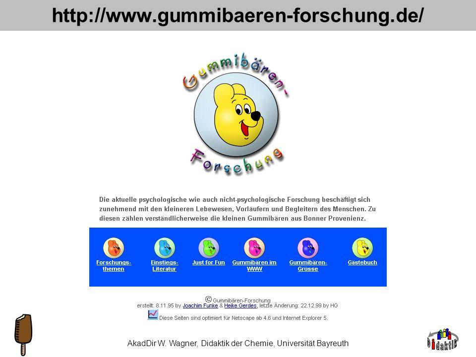 AkadDir W. Wagner, Didaktik der Chemie, Universität Bayreuth Vorteile 1.Schmecken gut. 2.Alltagsrelevanz 1 3.Produktorientierung 2 4.Nachhaltigkeit 3