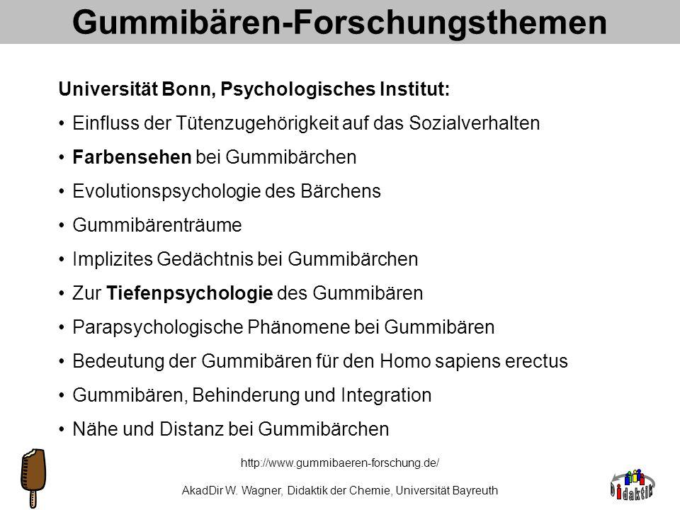 AkadDir W. Wagner, Didaktik der Chemie, Universität Bayreuth http://www.gummibaeren-forschung.de/