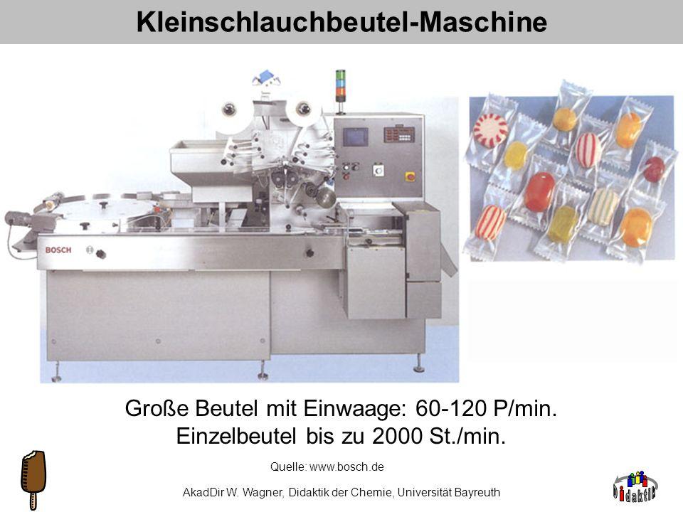 AkadDir W. Wagner, Didaktik der Chemie, Universität Bayreuth Schlangenkochmaschine 2m Quelle: www.bosch.de Produktion: bis 3000 kg/h Formung: bis 500.