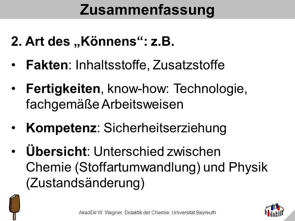 AkadDir W. Wagner, Didaktik der Chemie, Universität Bayreuth Zusammenfassung 1.Warum in Chemie Kenntnisse über Lebensmittel vermitteln: Wo denn sonst?