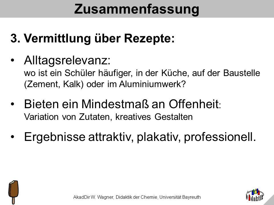 AkadDir W. Wagner, Didaktik der Chemie, Universität Bayreuth Zusammenfassung 2. Art des Könnens: z.B. Fakten: Inhaltsstoffe, Zusatzstoffe Fertigkeiten