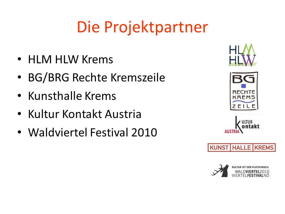 Die Projektpartner HLM HLW Krems BG/BRG Rechte Kremszeile Kunsthalle Krems Kultur Kontakt Austria Waldviertel Festival 2010