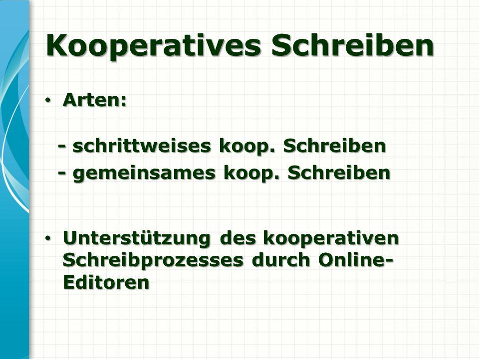 Kooperatives Schreiben Arten: Arten: - schrittweises koop. Schreiben - schrittweises koop. Schreiben - gemeinsames koop. Schreiben - gemeinsames koop.