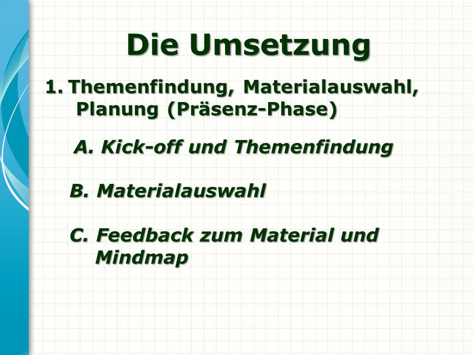 Die Umsetzung 1.Themenfindung, Materialauswahl, Planung (Präsenz-Phase) Planung (Präsenz-Phase) A. Kick-off und Themenfindung A. Kick-off und Themenfi