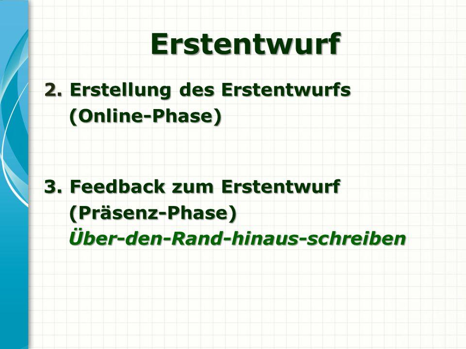 Erstentwurf 2. Erstellung des Erstentwurfs (Online-Phase) (Online-Phase) 3. Feedback zum Erstentwurf (Präsenz-Phase) (Präsenz-Phase) Über-den-Rand-hin
