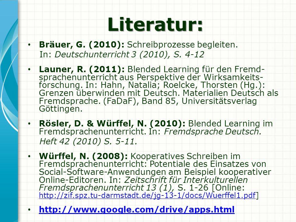 Literatur: Bräuer, G. (2010): Schreibprozesse begleiten. In: Deutschunterricht 3 (2010), S. 4-12 Launer, R. (2011): Blended Learning für den Fremd- sp