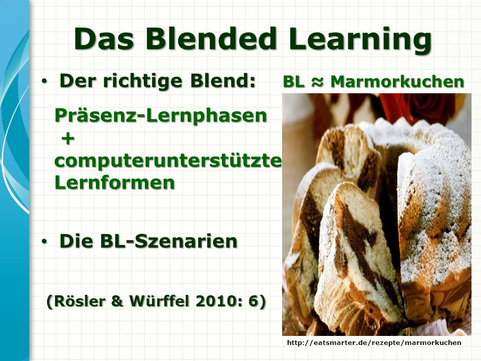 Das Blended Learning Der richtige Blend: BL Marmorkuchen Der richtige Blend: BL Marmorkuchen Präsenz-Lernphasen Präsenz-Lernphasen + computerunterstüt
