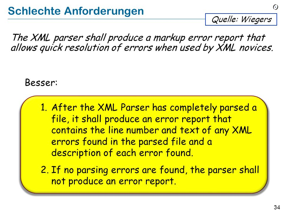 33 Schlechte Anforderungen The XML Editor shall switch between displaying and hiding non-printing characters instantaneously. Quelle: Wiegers The user