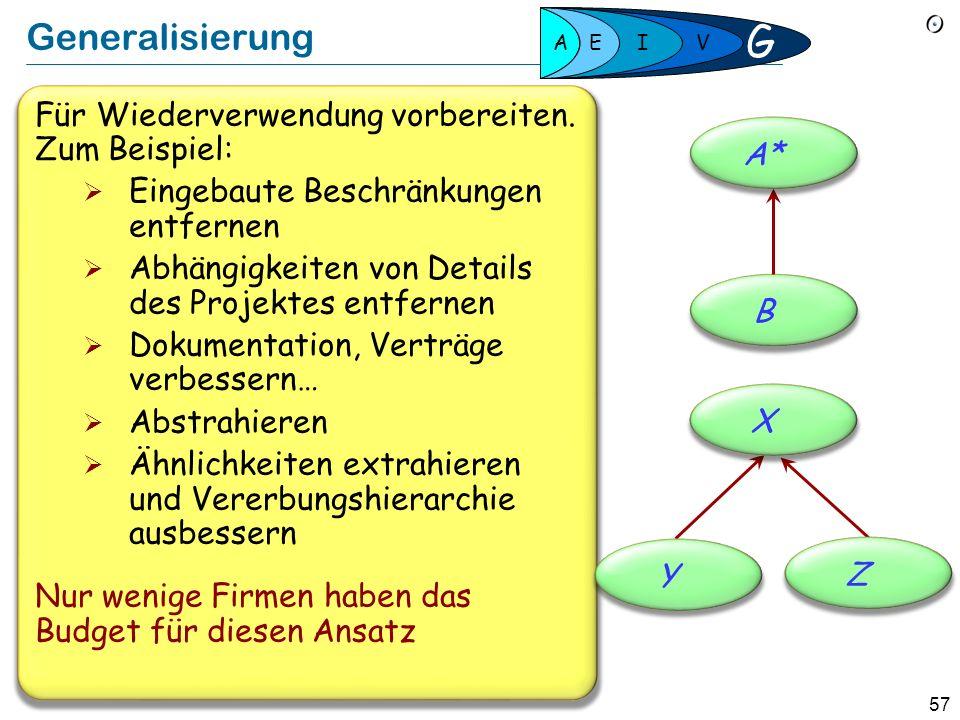 56 Nahtlose Entwicklung Eine Notation, Werkzeuge, Konzepte, Prinzipien Beständige, schrittweise Entwicklung Modell, Implementation und Dokumentation k