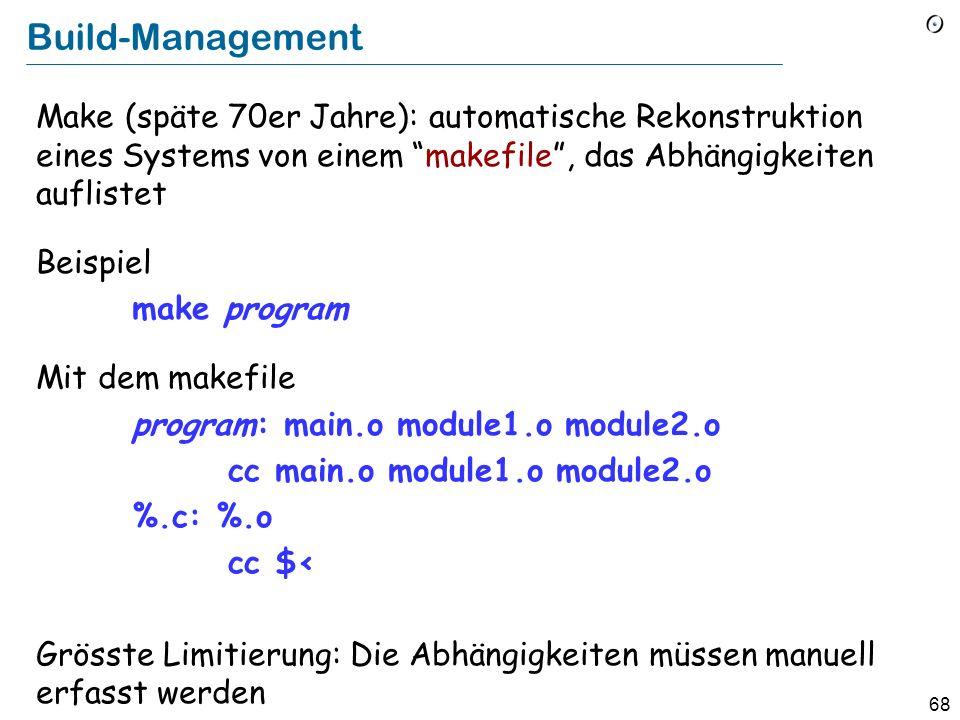 67 Konfigurationsmanagement Ziel: Sicherstellen, dass die Versionen, die für verschiedene Komponenten des Systems gebraucht werden, kompatibel sind Zw
