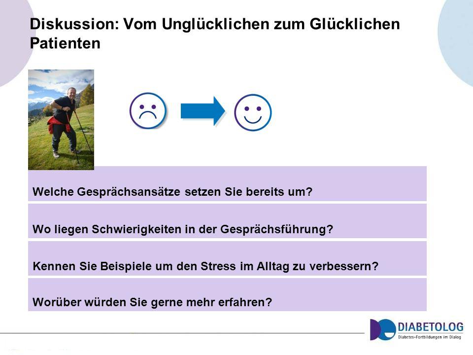 Diskussion: Vom Unglücklichen zum Glücklichen Patienten Welche Gesprächsansätze setzen Sie bereits um? Wo liegen Schwierigkeiten in der Gesprächsführu