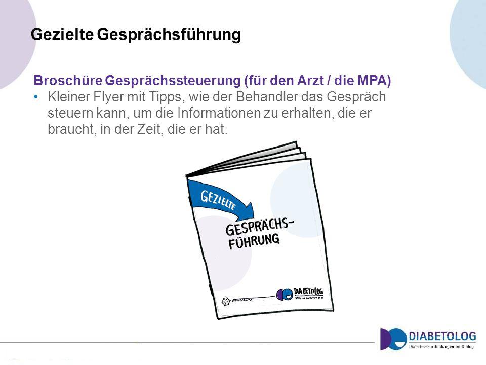 Gezielte Gesprächsführung Broschüre Gesprächssteuerung (für den Arzt / die MPA) Kleiner Flyer mit Tipps, wie der Behandler das Gespräch steuern kann,