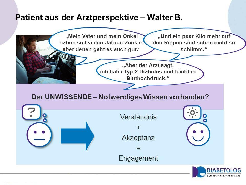 Patient aus der Arztperspektive – Walter B. Der UNWISSENDE – Notwendiges Wissen vorhanden? Verständnis + Akzeptanz = Engagement Verständnis + Akzeptan