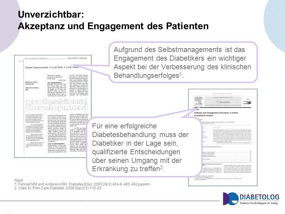 Unverzichtbar: Akzeptanz und Engagement des Patienten Nach: 1. Funnell MM and Anderson RM. Diabetes Educ. 2003;29(3):454-8, 460, 462 passim. 2. Clark