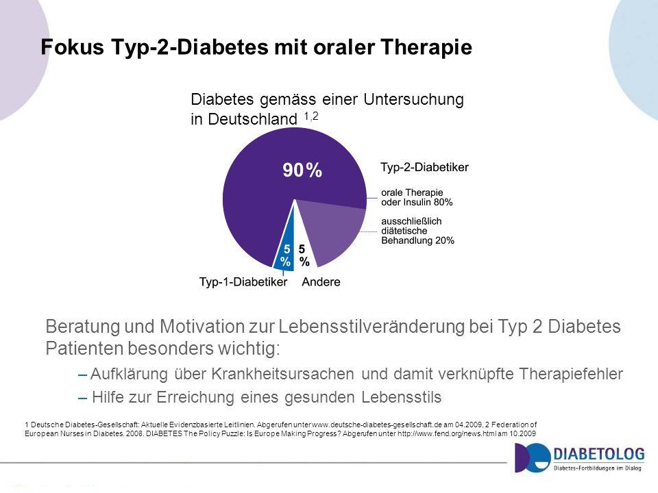 Fokus Typ-2-Diabetes mit oraler Therapie 1 Deutsche Diabetes-Gesellschaft: Aktuelle Evidenzbasierte Leitlinien. Abgerufen unter www.deutsche-diabetes-