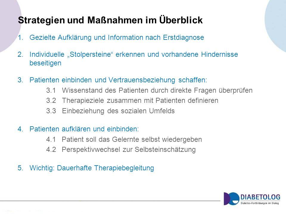 Strategien und Maßnahmen im Überblick 1.Gezielte Aufklärung und Information nach Erstdiagnose 2.Individuelle Stolpersteine erkennen und vorhandene Hin