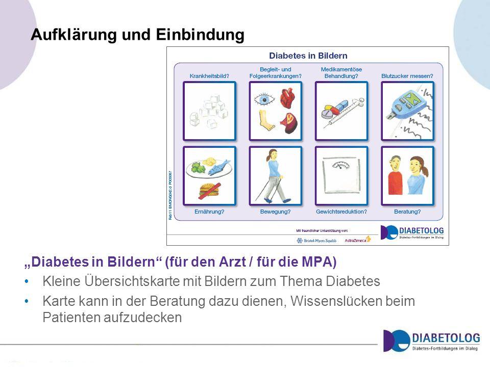 Aufklärung und Einbindung Diabetes in Bildern (für den Arzt / für die MPA) Kleine Übersichtskarte mit Bildern zum Thema Diabetes Karte kann in der Ber