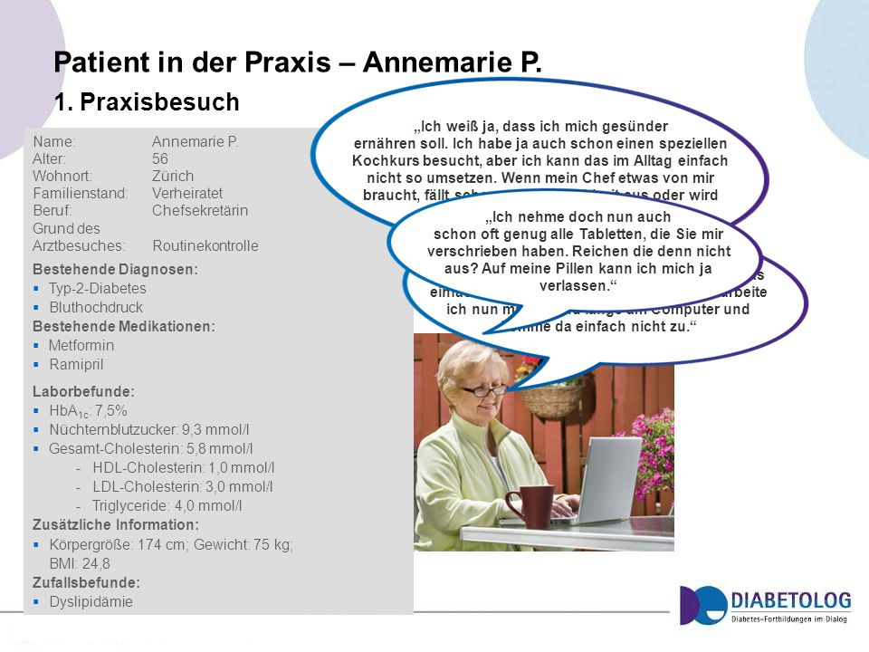 Patient in der Praxis – Annemarie P. Name:Annemarie P. Alter: 56 Wohnort: Zürich Familienstand:Verheiratet Beruf: Chefsekretärin Grund des Arztbesuche