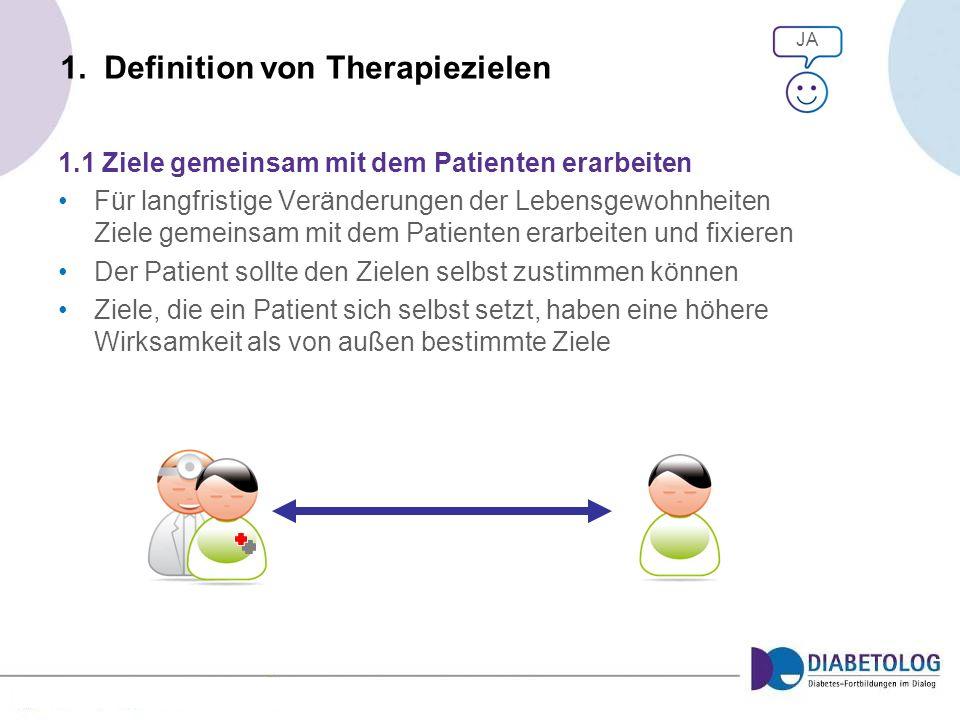 1. Definition von Therapiezielen 1.1 Ziele gemeinsam mit dem Patienten erarbeiten Für langfristige Veränderungen der Lebensgewohnheiten Ziele gemeinsa