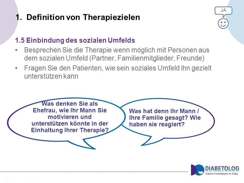 1. Definition von Therapiezielen 1.5 Einbindung des sozialen Umfelds Besprechen Sie die Therapie wenn möglich mit Personen aus dem sozialen Umfeld (Pa