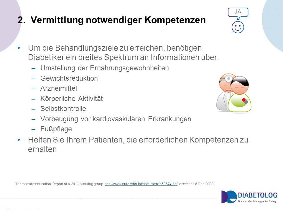 2. Vermittlung notwendiger Kompetenzen Um die Behandlungsziele zu erreichen, benötigen Diabetiker ein breites Spektrum an Informationen über: –Umstell