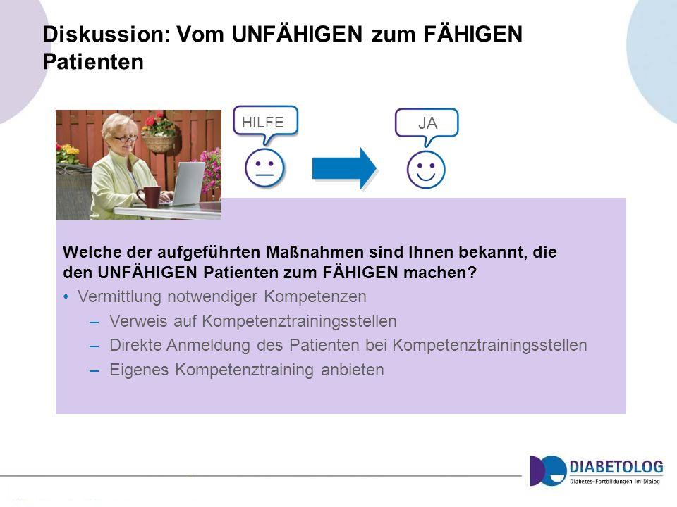 Diskussion: Vom UNFÄHIGEN zum FÄHIGEN Patienten Welche der aufgeführten Maßnahmen sind Ihnen bekannt, die den UNFÄHIGEN Patienten zum FÄHIGEN machen?