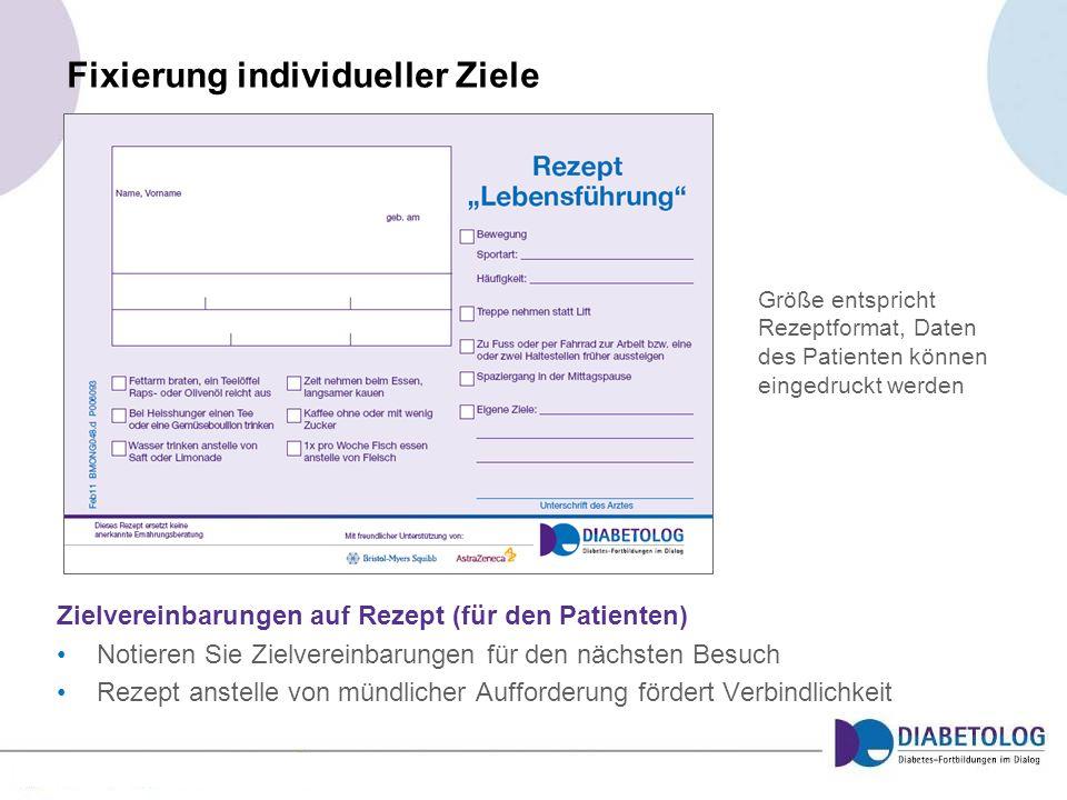 Fixierung individueller Ziele Zielvereinbarungen auf Rezept (für den Patienten) Notieren Sie Zielvereinbarungen für den nächsten Besuch Rezept anstell