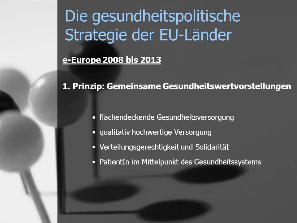 e-Europe 2008 bis 2013 1. Prinzip: Gemeinsame Gesundheitswertvorstellungen flächendeckende Gesundheitsversorgung qualitativ hochwertige Versorgung Ver