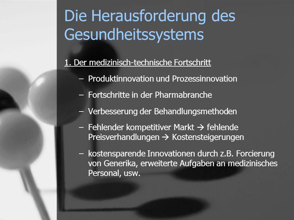Die Herausforderung des Gesundheitssystems 1. Der medizinisch-technische Fortschritt –Produktinnovation und Prozessinnovation –Fortschritte in der Pha