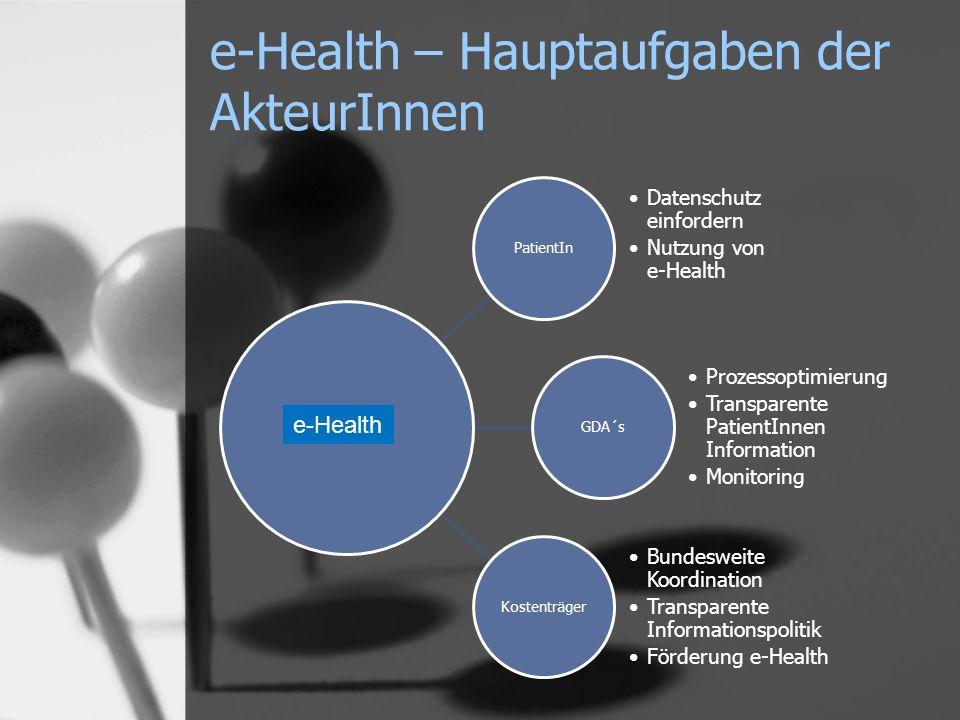 PatientIn Datenschutz einfordern Nutzung von e-Health GDA´s Prozessoptimierung Transparente PatientInnen Information Monitoring Kostenträger Bundesweite Koordination Transparente Informationspolitik Förderung e-Health e-Health