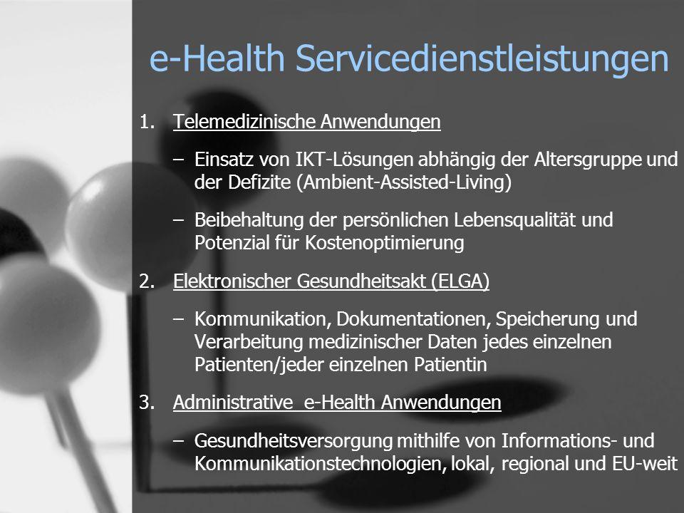 1.Telemedizinische Anwendungen –Einsatz von IKT-Lösungen abhängig der Altersgruppe und der Defizite (Ambient-Assisted-Living) –Beibehaltung der persönlichen Lebensqualität und Potenzial für Kostenoptimierung 2.Elektronischer Gesundheitsakt (ELGA) –Kommunikation, Dokumentationen, Speicherung und Verarbeitung medizinischer Daten jedes einzelnen Patienten/jeder einzelnen Patientin 3.Administrative e-Health Anwendungen –Gesundheitsversorgung mithilfe von Informations- und Kommunikationstechnologien, lokal, regional und EU-weit