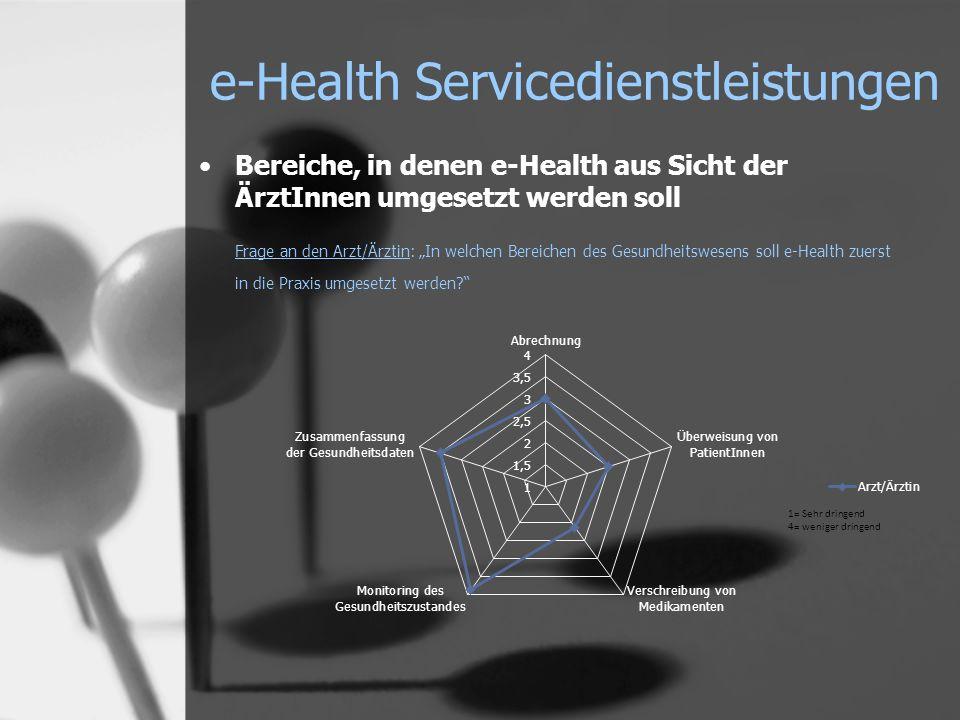 e-Health Servicedienstleistungen Bereiche, in denen e-Health aus Sicht der ÄrztInnen umgesetzt werden soll Frage an den Arzt/Ärztin: In welchen Bereichen des Gesundheitswesens soll e-Health zuerst in die Praxis umgesetzt werden?