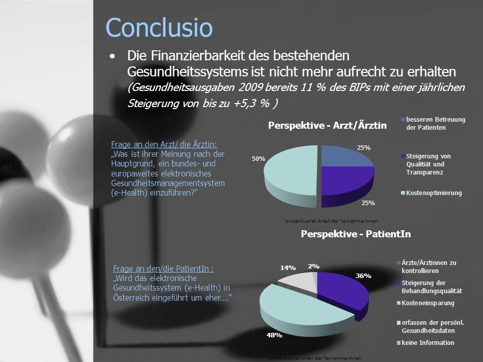 Conclusio Die Finanzierbarkeit des bestehenden Gesundheitssystems ist nicht mehr aufrecht zu erhalten (Gesundheitsausgaben 2009 bereits 11 % des BIPs