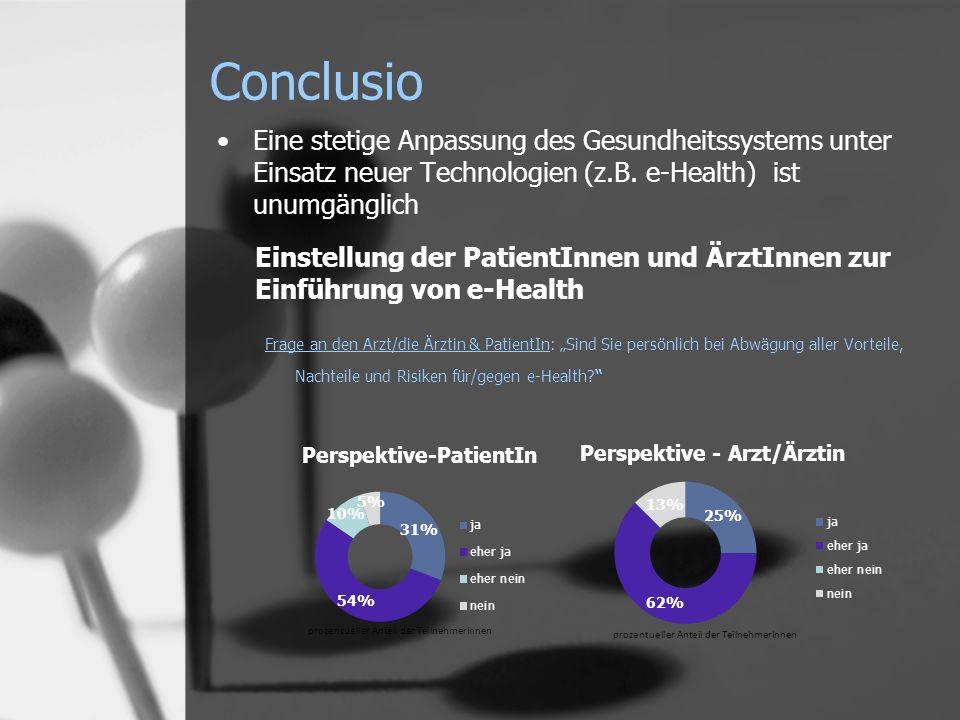 Conclusio Eine stetige Anpassung des Gesundheitssystems unter Einsatz neuer Technologien (z.B. e-Health) ist unumgänglich Einstellung der PatientInnen