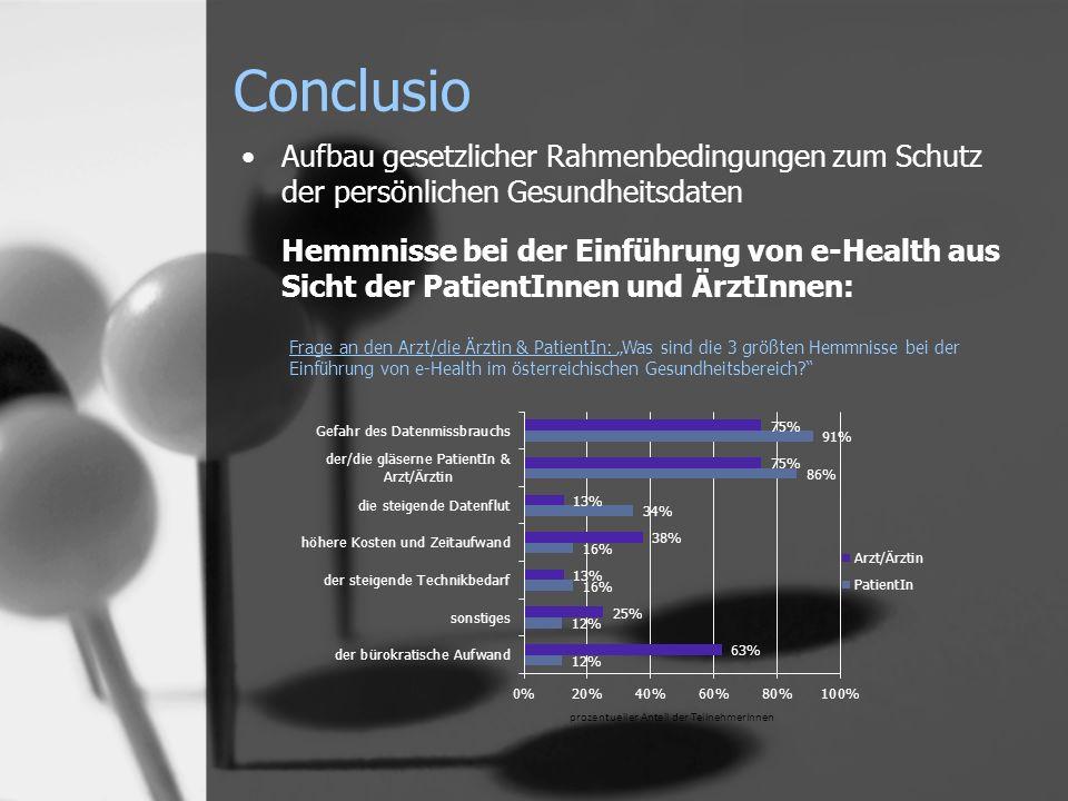 Conclusio Aufbau gesetzlicher Rahmenbedingungen zum Schutz der persönlichen Gesundheitsdaten Hemmnisse bei der Einführung von e-Health aus Sicht der P