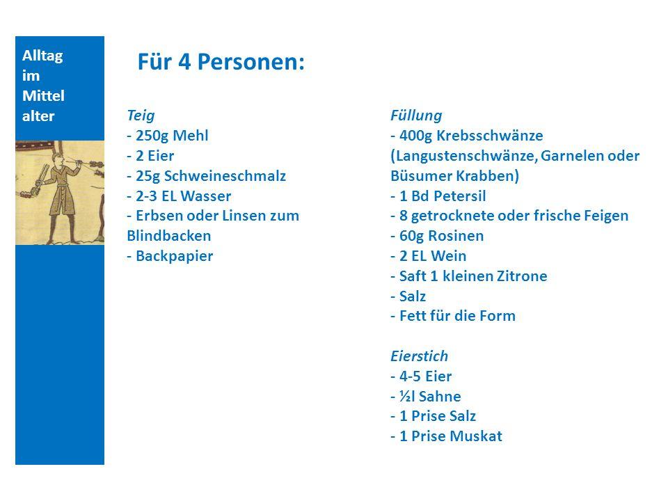 Alltag im Mittel alter Für 4 Personen: Teig - 250g Mehl - 2 Eier - 25g Schweineschmalz - 2-3 EL Wasser - Erbsen oder Linsen zum Blindbacken - Backpapi