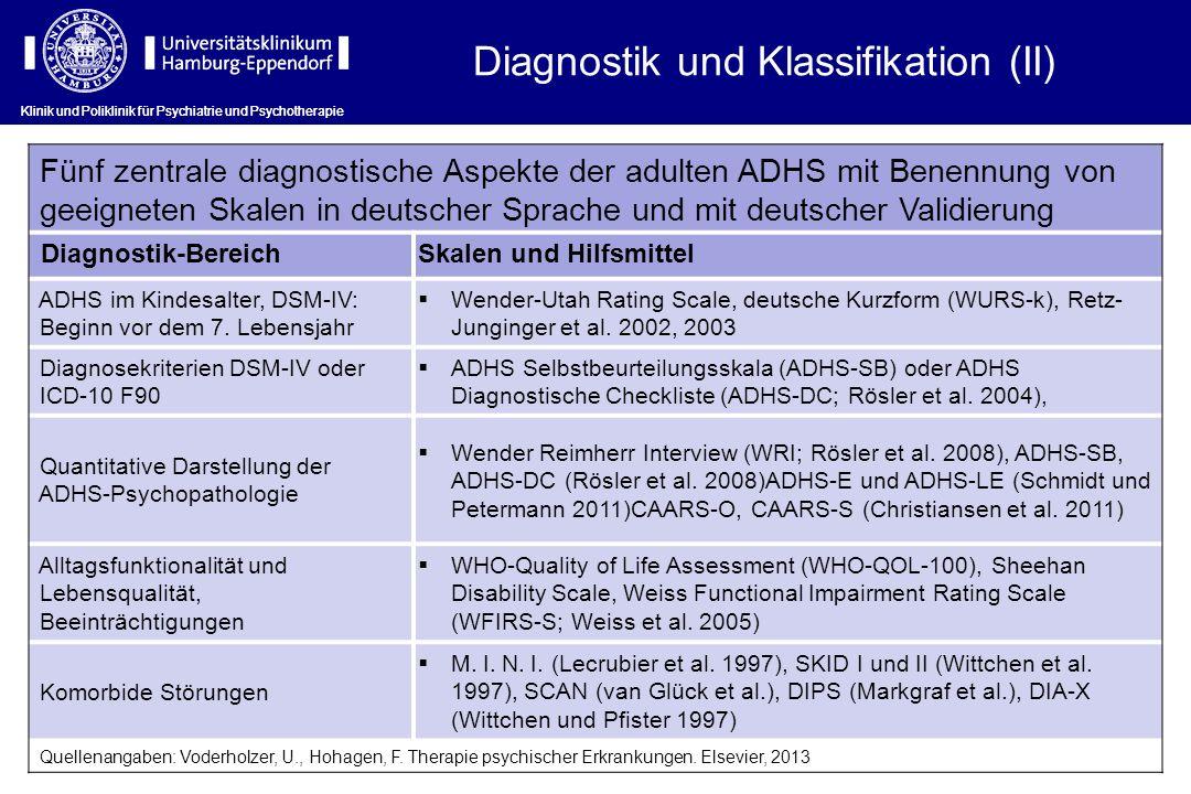 Klinik und Poliklinik für Psychiatrie und Psychotherapie Fünf zentrale diagnostische Aspekte der adulten ADHS mit Benennung von geeigneten Skalen in d