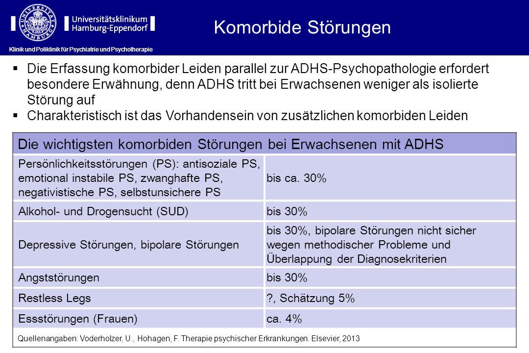 Klinik und Poliklinik für Psychiatrie und Psychotherapie Komorbide Störungen Die Erfassung komorbider Leiden parallel zur ADHS-Psychopathologie erford