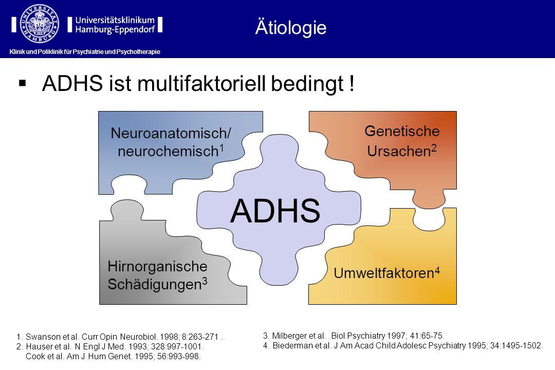 Ätiologie ADHS ist multifaktoriell bedingt ! ADHS Neuroanatomisch/ neurochemisch 1 Hirnorganische Schädigungen 3 Umweltfaktoren 4 1. Swanson et al. Cu