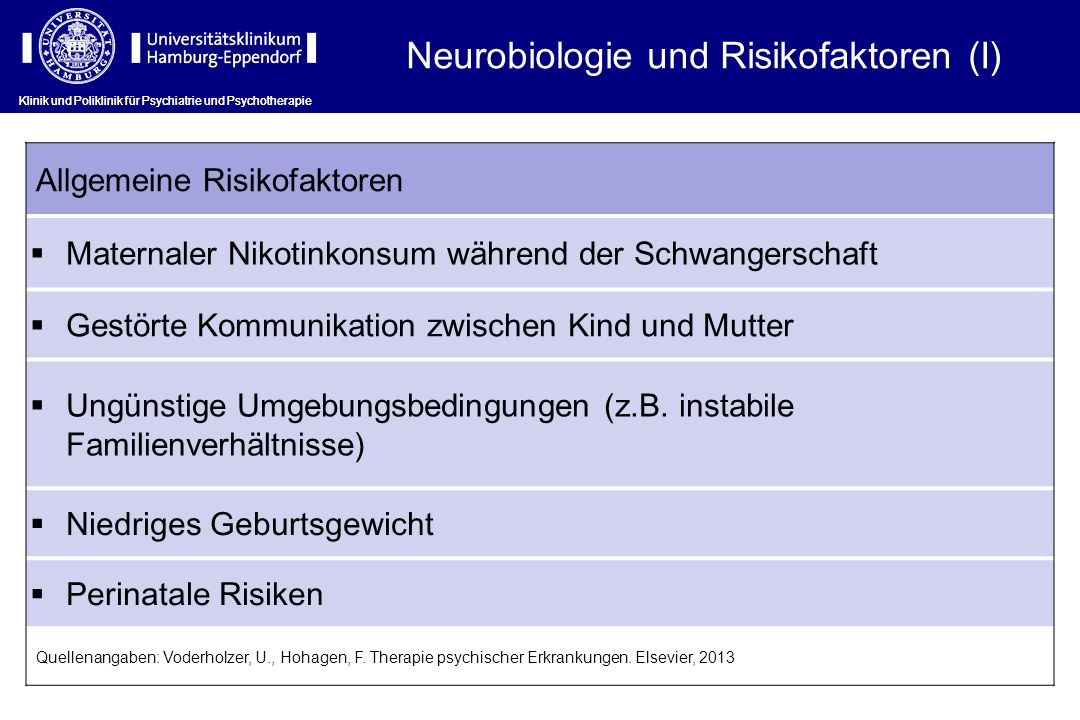 Klinik und Poliklinik für Psychiatrie und Psychotherapie Neurobiologie und Risikofaktoren (I) Klinik und Poliklinik für Psychiatrie und Psychotherapie