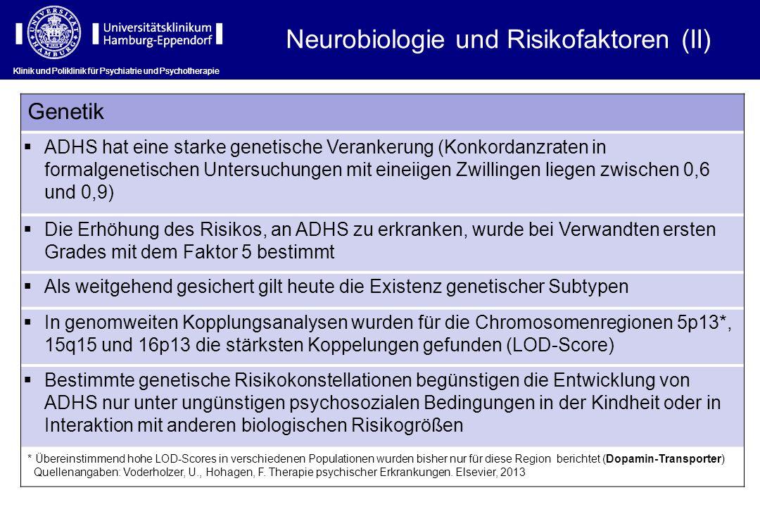 Klinik und Poliklinik für Psychiatrie und Psychotherapie Genetik ADHS hat eine starke genetische Verankerung (Konkordanzraten in formalgenetischen Unt
